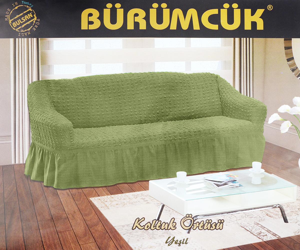 Чехол для дивана Burumcuk Bulsan, трехместный, цвет: зеленый чехол для дивана burumcuk bulsan угловой левосторонний пятиместный цвет вишневый