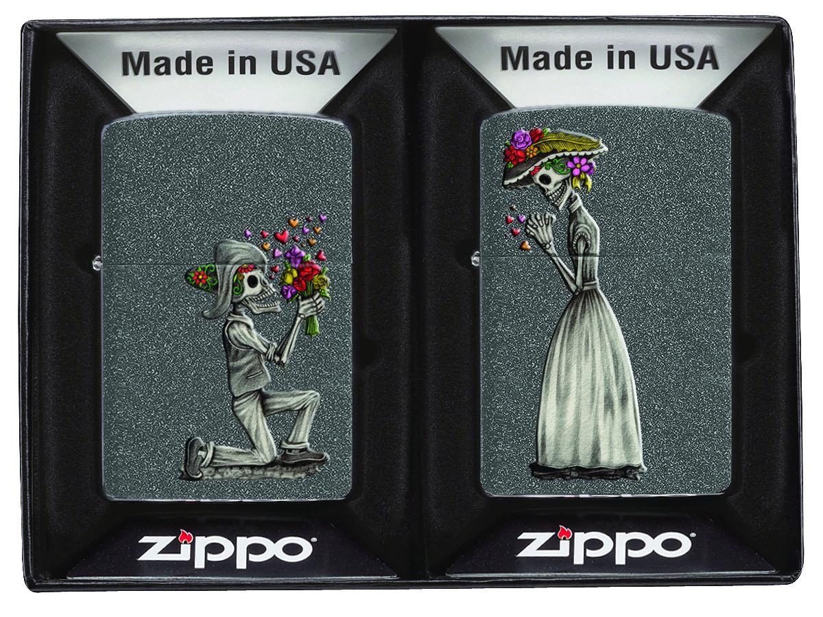 """Набор зажигалок Zippo """"Day of Dead Skulls"""", 2 шт"""
