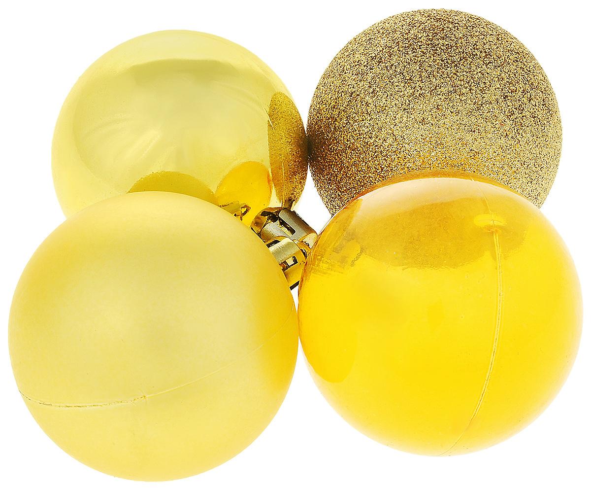"""Набор новогодних подвесных украшений Winter Wings """"Шары"""", цвет: золотистый, диаметр 5,5 см, 4 шт"""
