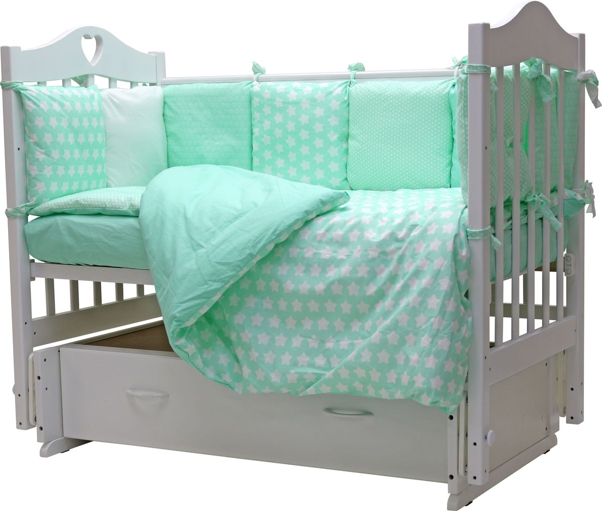 Топотушки Комплект детского постельного белья 12 месяцев цвет мятный 6 предметов