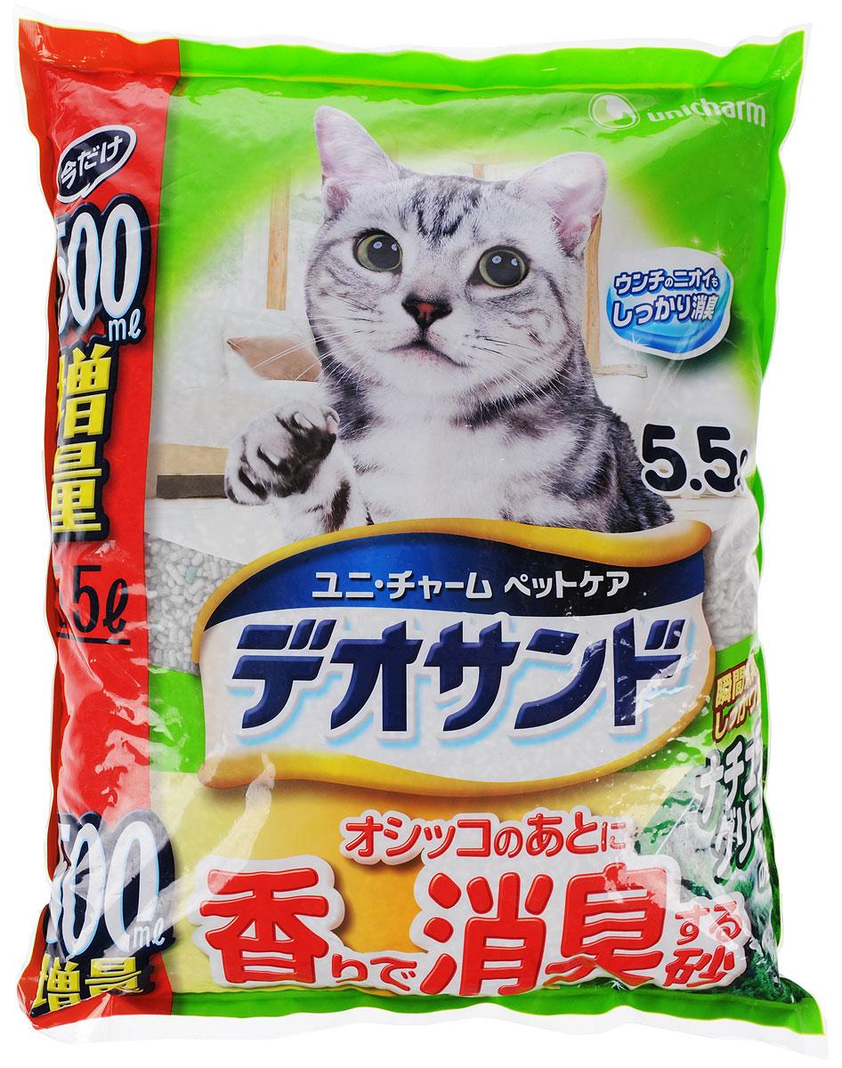 Наполнитель для кошачьего туалета Unicharm DeoSand, с ароматом зеленого чая, 5 л шарики дезодорирующие для кошачьего туалета unicharm мягкий мыльный запах 450 мл