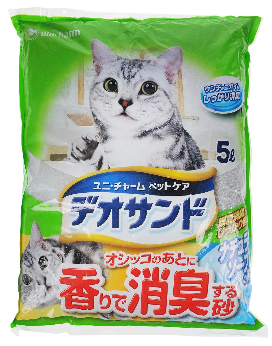 Наполнитель для кошачьего туалета Unicharm DeoSand, с ароматом душистого мыла, 5 л шарики дезодорирующие для кошачьего туалета unicharm мягкий мыльный запах 450 мл