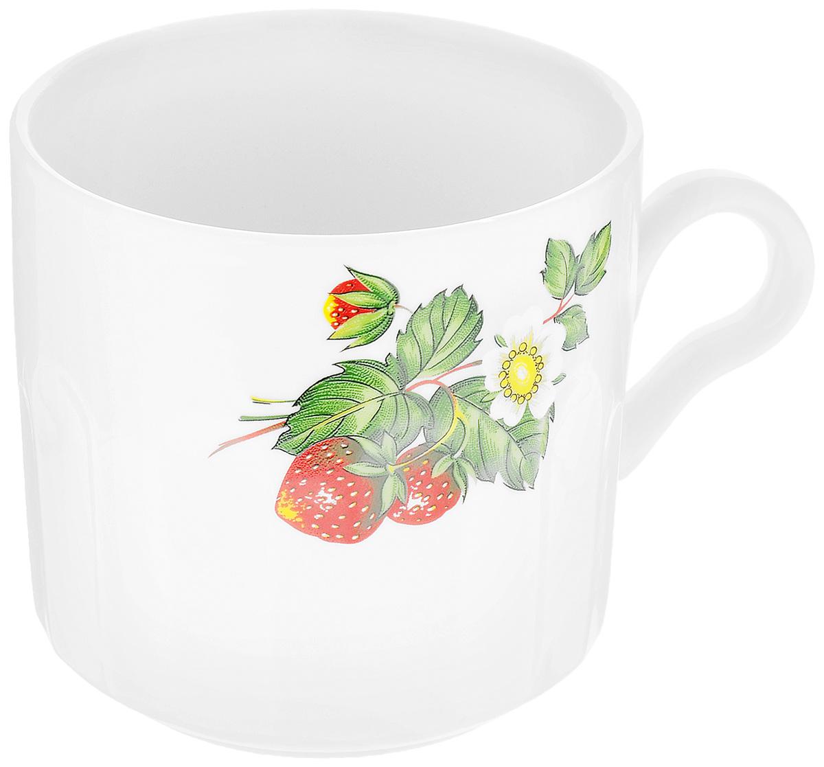 Кружка Фарфор Вербилок Цветущая земляника, 500 мл блюдо для яиц фарфор вербилок розовые герберы 26351660уп