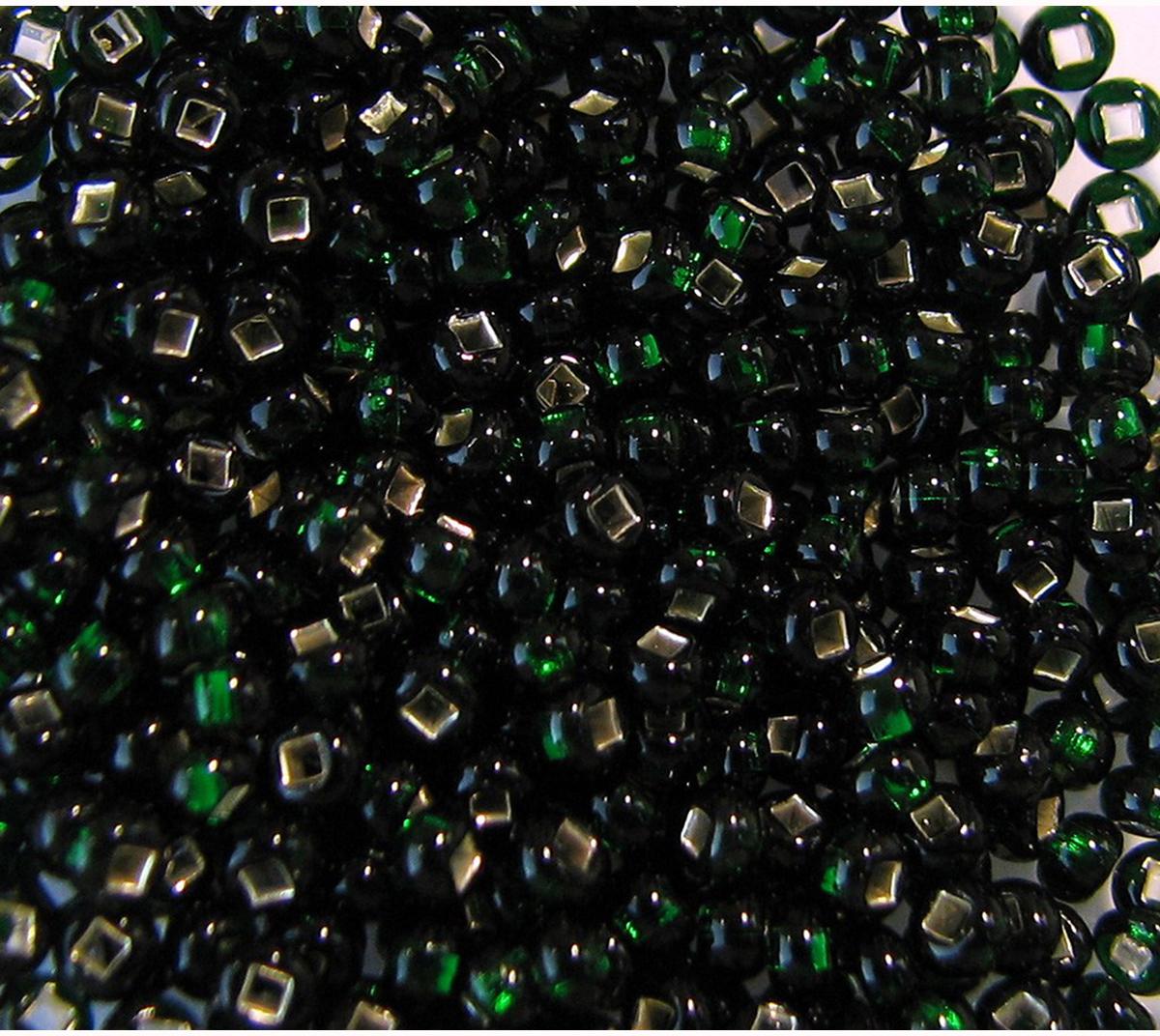 Бисер Preciosa, с серебристой серединой, цвет: темно-зеленый (57150), 10/0, 5 г