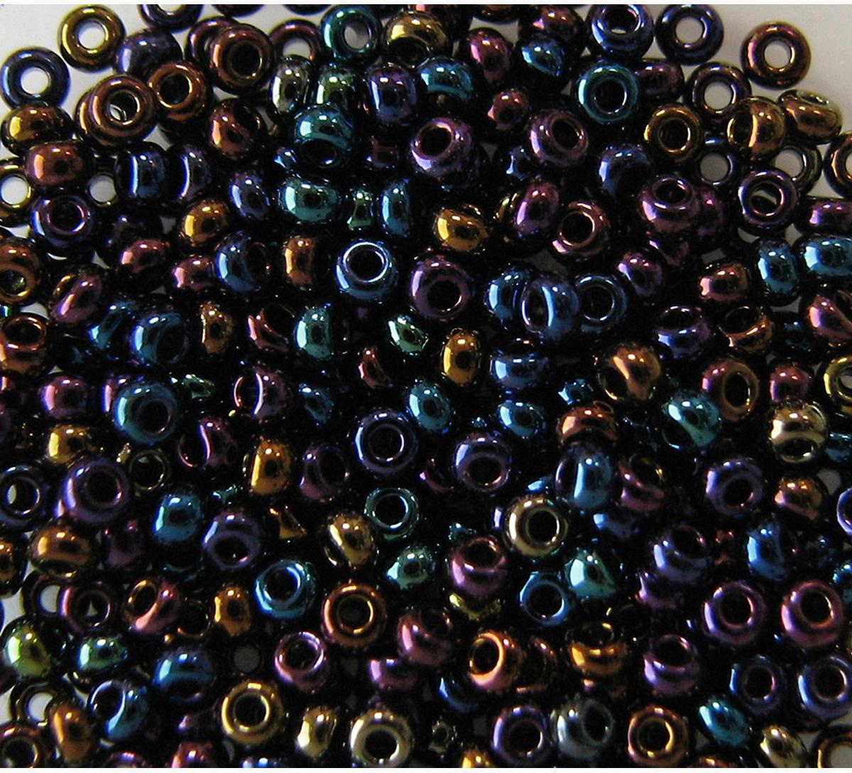 Бисер Preciosa, непрозрачный, радужный, цвет: синий, золотой, фиолетовый (59205), 10/0, 5 г