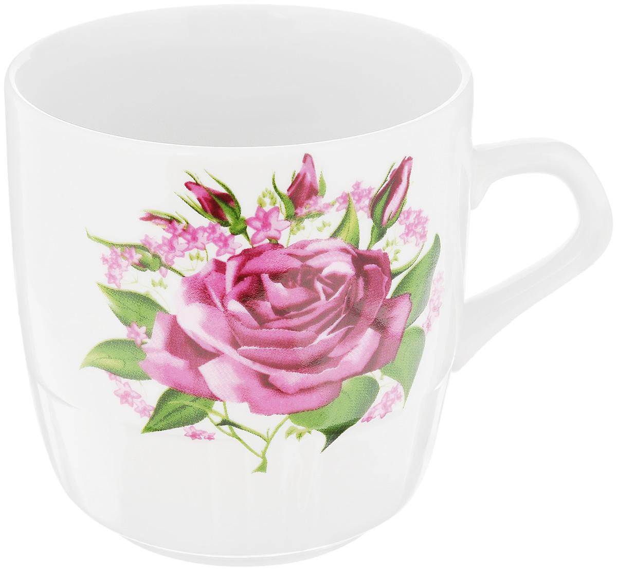 Кружка Фарфор Вербилок Розовые бутоны, 250 мл блюдо для яиц фарфор вербилок розовые герберы 26351660уп