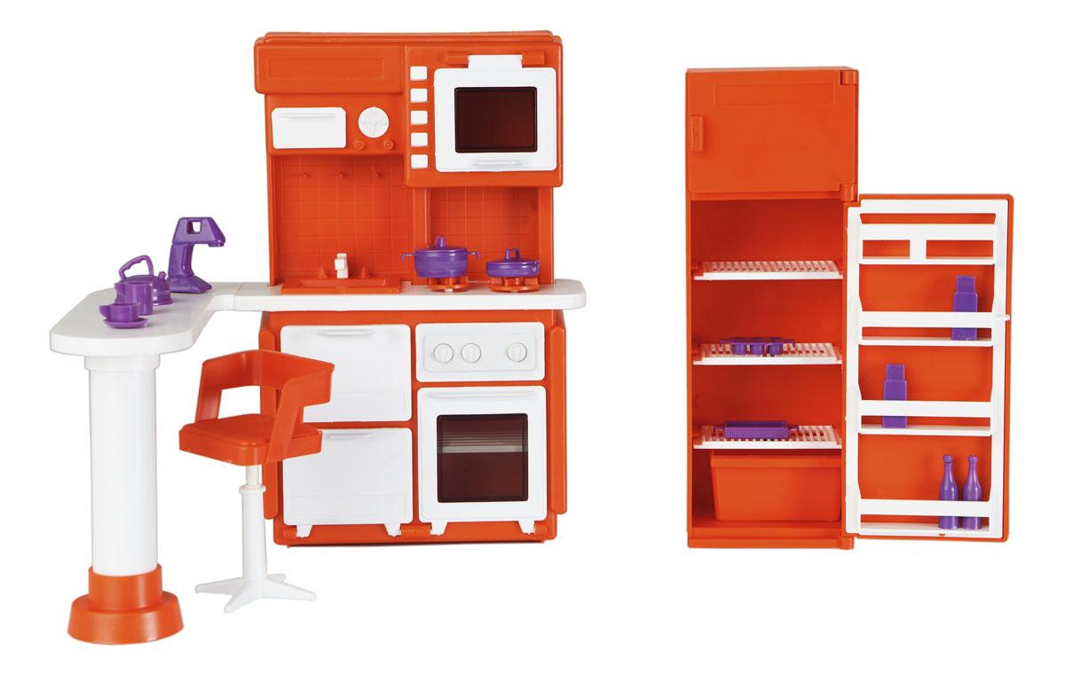 цены на Огонек Набор мебели для кукол Кухня Конфетти цвет оранжевый  в интернет-магазинах