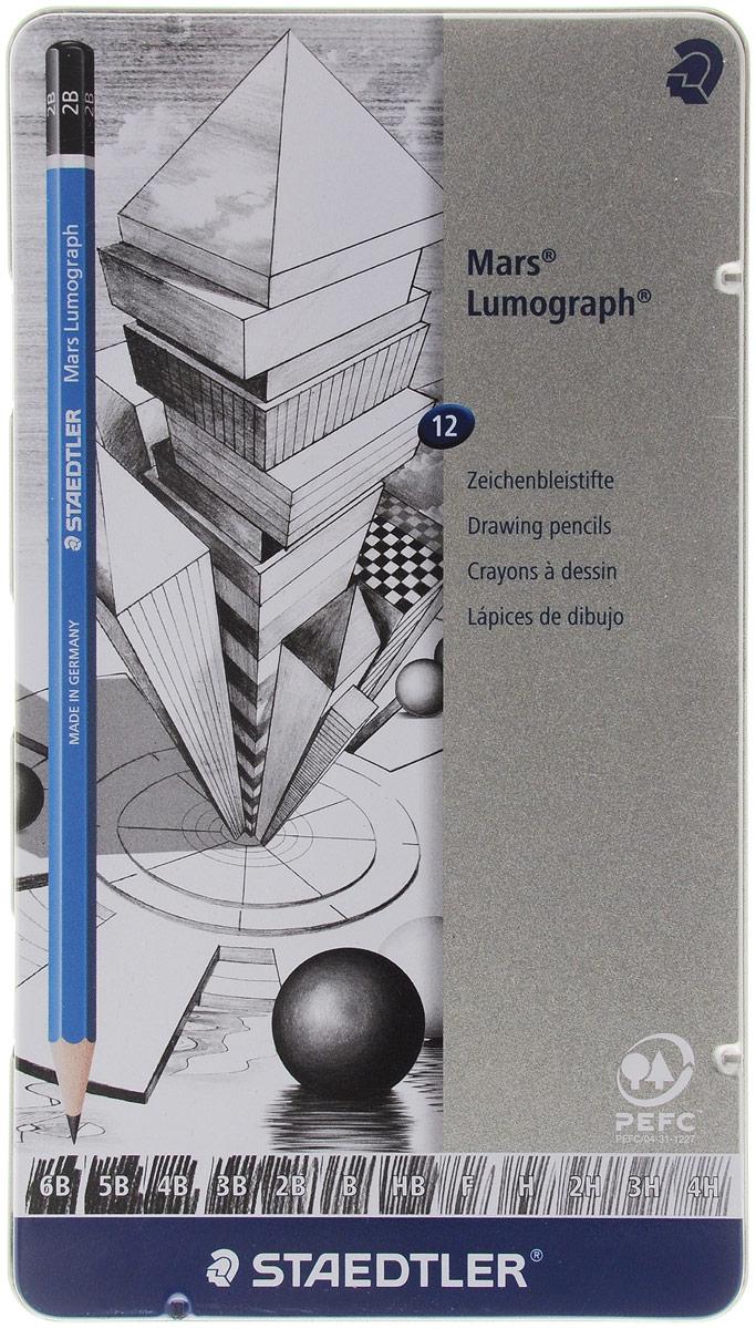 Staedtler Карандаши чернографитные Mars Lumograph 12 шт карандаши чернографитные index i301 6b i301 6b