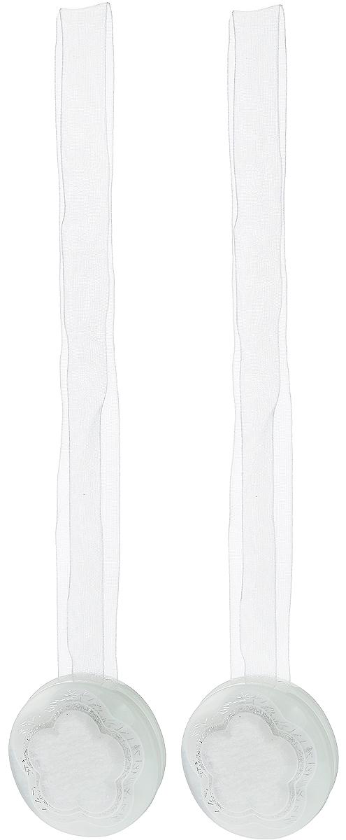 Подхват для штор TexRepublic Ajur. Lenta, на магнитах, цвет: белый, диаметр 4 см, 2 шт. 79020 подхват для штор texrepublic ajur tross на магнитах цвет золотой белый 78980