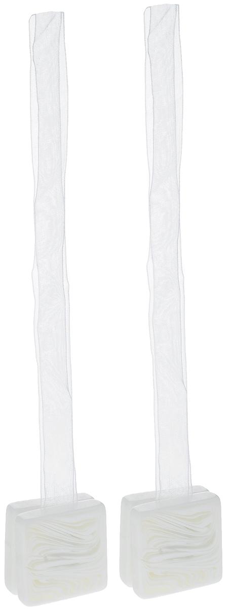 Подхват для штор TexRepublic Ajur. Lenta, на магнитах, цвет: белый, 2 шт. 79026 подхват для штор texrepublic ajur tross на магнитах цвет золотой белый 78980