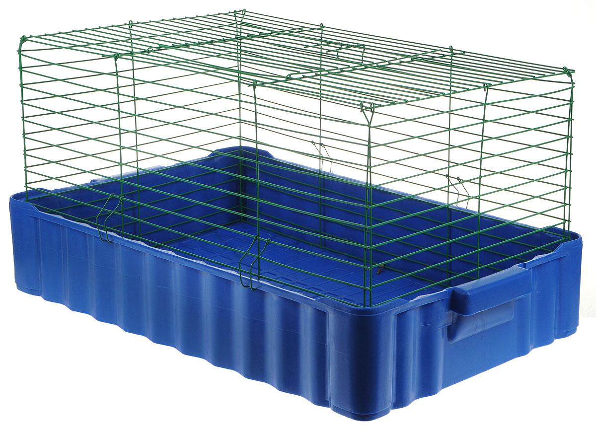 Клетка для кроликов ЗооМарк, цвет: синий поддон, зеленая решетка, 75 х 46 х 40 см док станция belkin valet charge dock для apple iphone и apple watch черный