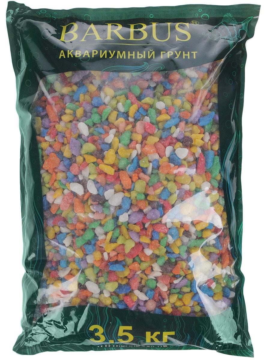 Грунт для аквариума Barbus Микс, натуральный, каменная крошка, цвет: синий, зеленый, желтый, 5-10 мм, 3,5 кг грунт для аквариума barbus горный натуральный кварц 2 7 мм 3 5 кг