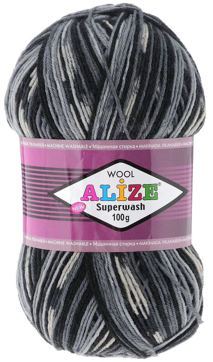 """Пряжа для вязания Alize """"Superwash"""", цвет: синий, черный, белый (2695), 420 м, 100 г, 5 шт"""