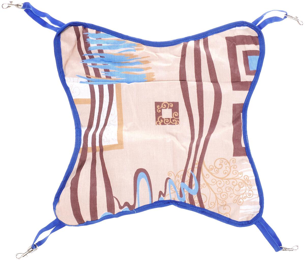 Гамак для шиншилл и хорьков ЗооМарк, подвесной, цвет: бежевый, коричневый, синий. Д-11 гамак кроватка для шиншилл и хорьков зоомарк подвесной цвет красный д 12к