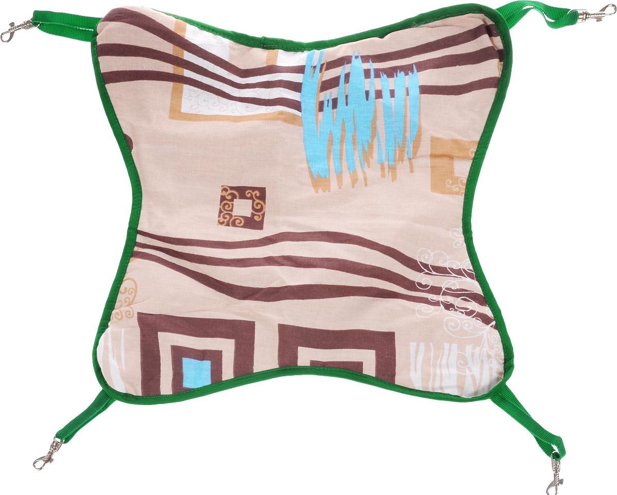 Гамак для шиншилл и хорьков ЗооМарк, подвесной, цвет: бежевый, коричневый, зеленый. Д-11 гамак кроватка для шиншилл и хорьков зоомарк подвесной цвет красный д 12к