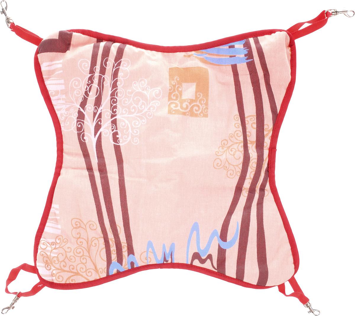 Гамак для шиншилл и хорьков ЗооМарк, подвесной, цвет: бежевый, коричневый, красный. Д-11 гамак кроватка для шиншилл и хорьков зоомарк подвесной цвет красный д 12к