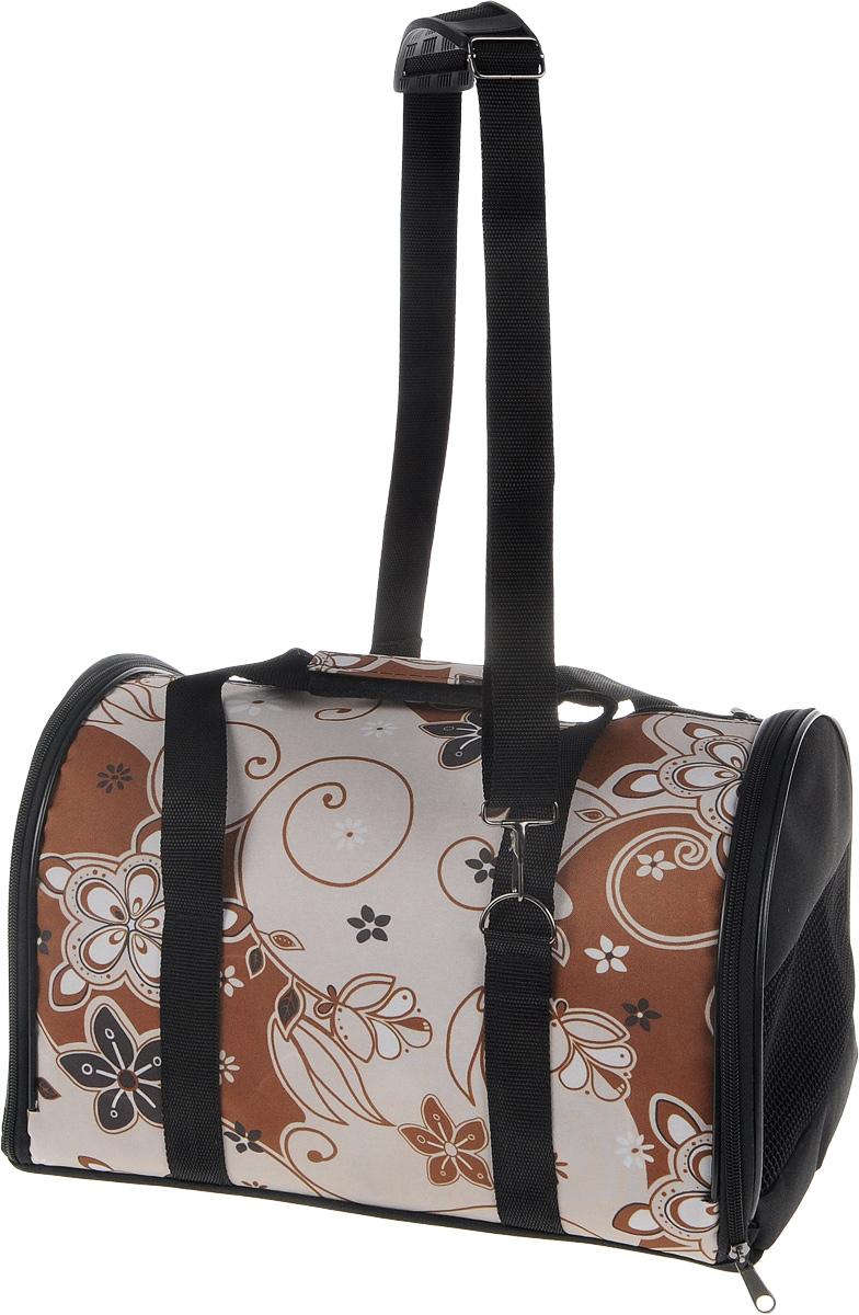 Сумка-переноска для животных ЗооМарк Цветы, цвет: коричневый, бежевый, 38 х 22 х 26 см сумка переноска для животных зоомарк цветы цвет коричневый бежевый 41 х 23 х 29 см