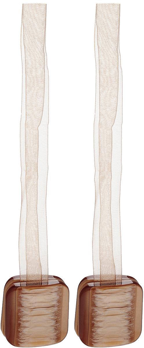 Подхват для штор TexRepublic Ajur. Lenta, на магнитах, цвет: бежевый, 2 шт. 79015 подхват для штор протос цвет светло бежевый длина 70 см 2 шт