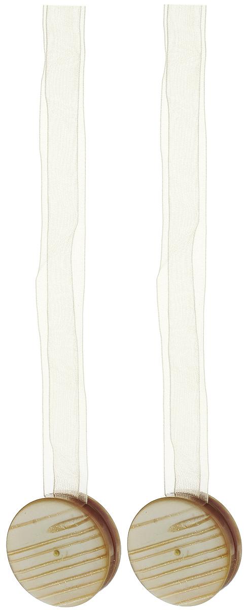 Подхват для штор TexRepublic Ajur. Lenta, на магнитах, цвет: бежевый, диаметр 4 см, 2 шт. 79007 подхват для штор протос цвет светло бежевый длина 70 см 2 шт