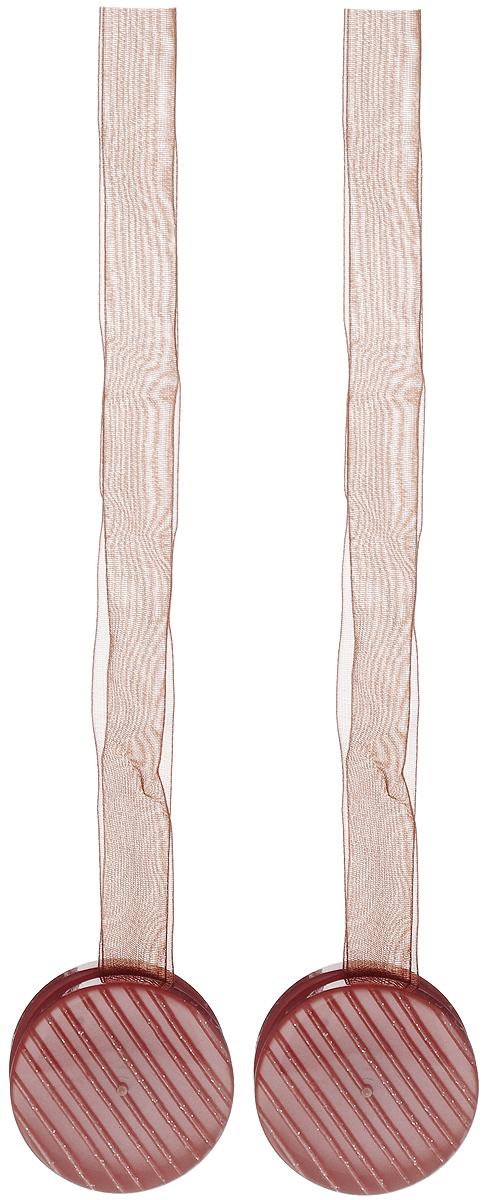 Подхват для штор TexRepublic Ajur. Lenta, на магнитах, цвет: коричневый, диаметр 4 см, 2 шт. 79012 подхват для штор протос цвет светло бежевый длина 70 см 2 шт