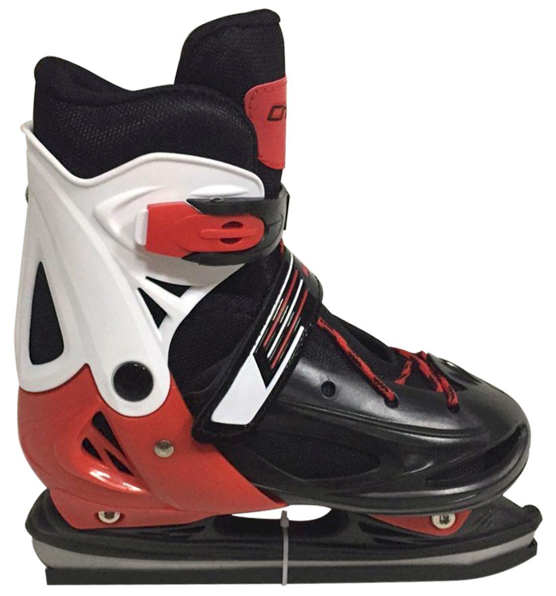 Коньки ледовые Ice Blade Charlie, раздвижные, цвет: черный, красный, белый. УТ-00009120. Размер S (30/33)