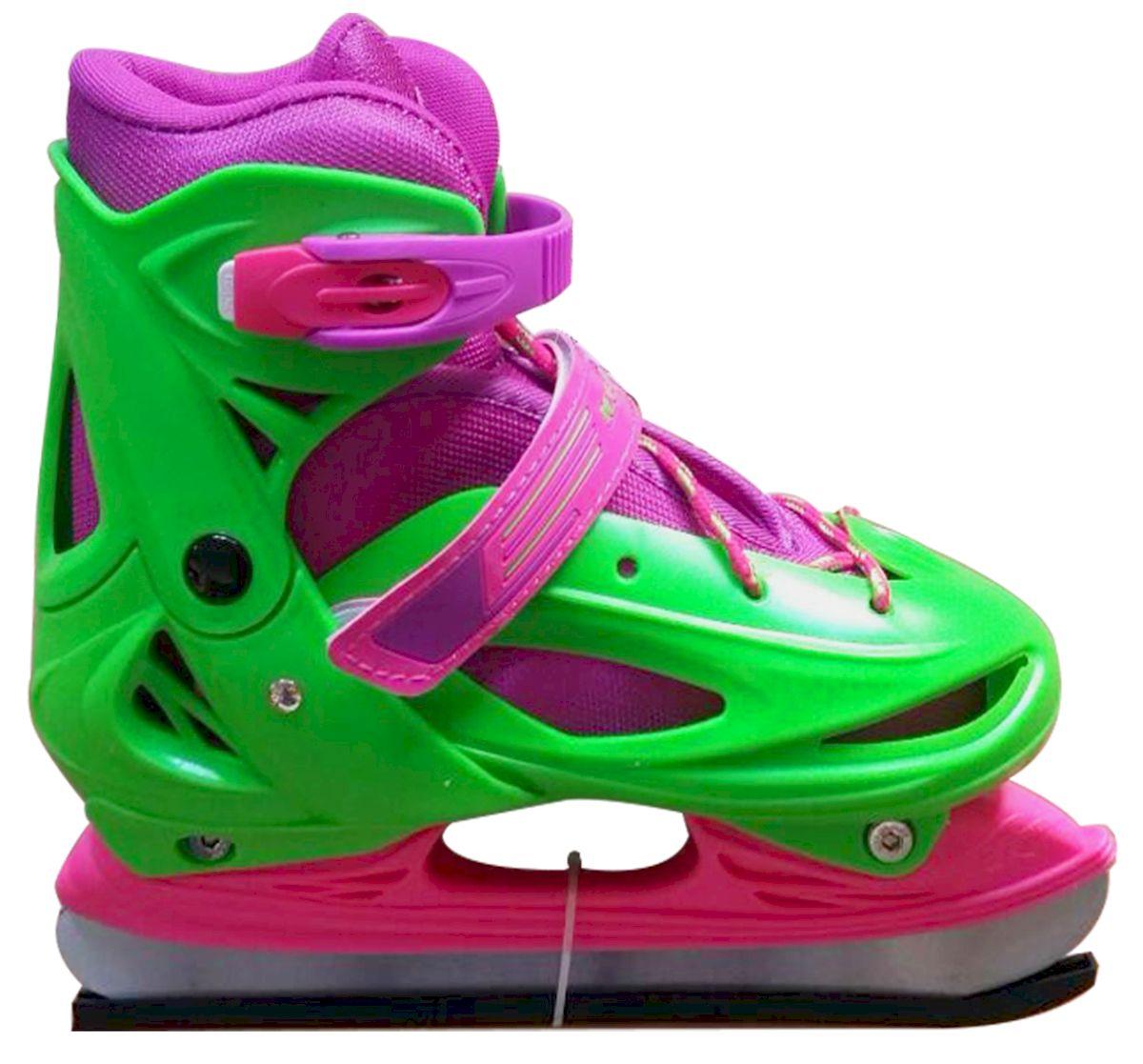 Коньки ледовые Ice Blade Sophie, раздвижные, цвет: розовый, зеленый. УТ-00009126. Размер S (30/33)