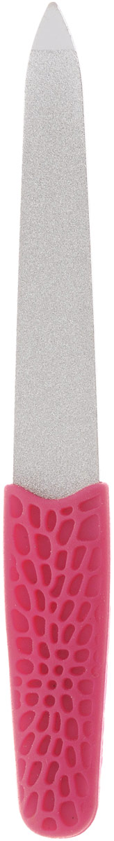 Пилка металлическая Solinberg 034, прорезиненная ручка Soft-Touch, алмазное покрытие, цвет: малиновый, длина 12,5 см терка для ног деревянная основа двухсторонняя solinberg ширина 60 мм