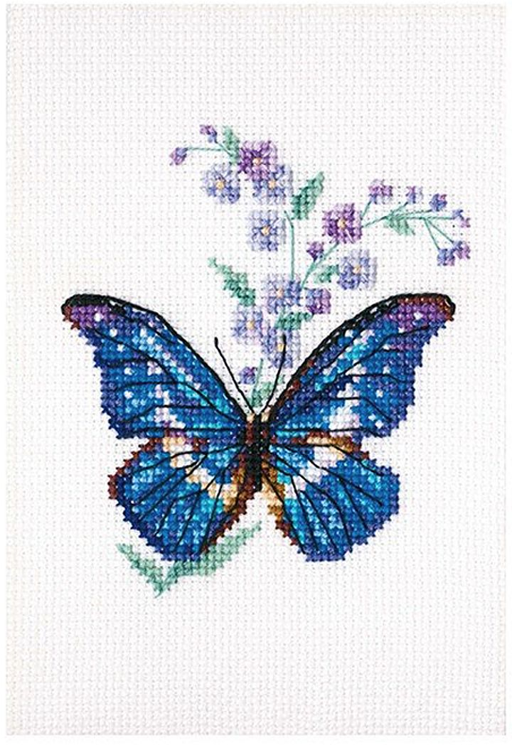 Набор для вышивания крестом РТО Синюха и бабочка, 8,5 x 9,5 см набор для вышивания крестом хрустальная бабочка 31 см х 40 см