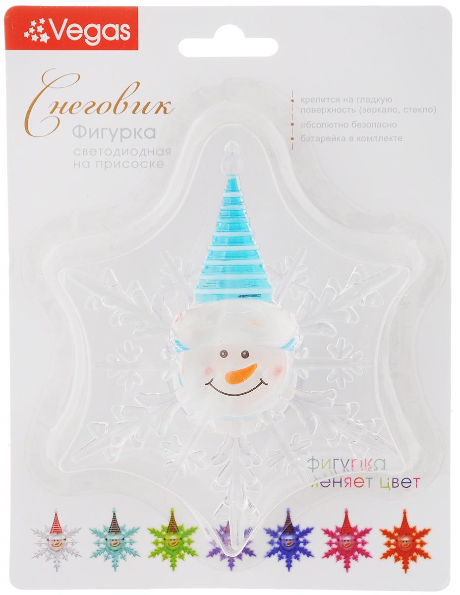 """Украшение новогоднее Vegas """"Снеговик"""", со светодиодной подсветкой, на присоске, 10 х 12 см"""