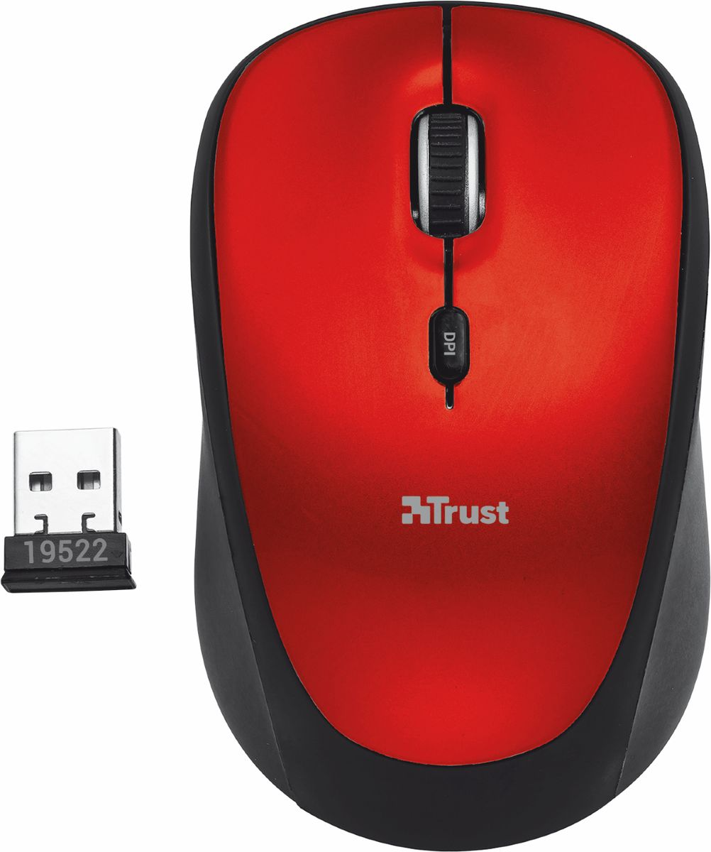 Мышь Trust Yvi Wireless Mouse, Black Red мышь trust yvi fabric синий [22629]
