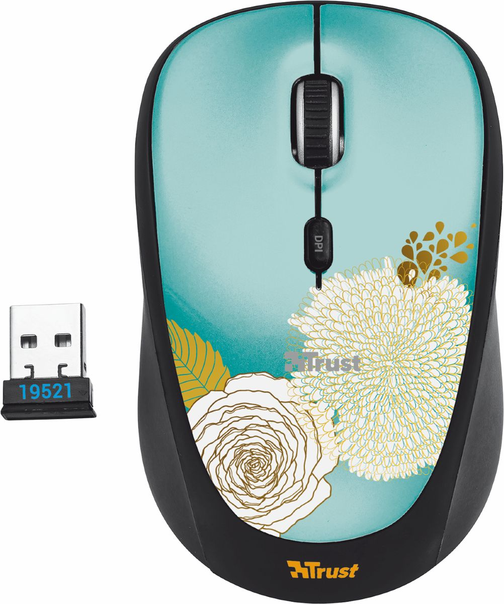 Мышь Trust Yvi Wireless Mouse, Black Flower мышь trust yvi fabric синий [22629]
