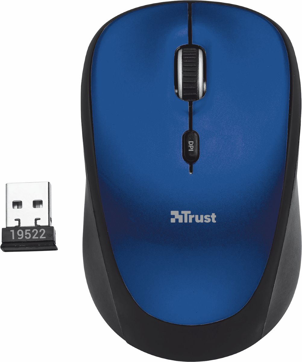 Trust Yvi Wireless Mouse, Black Blue мышь мышь trust yvi fabric синий [22629]