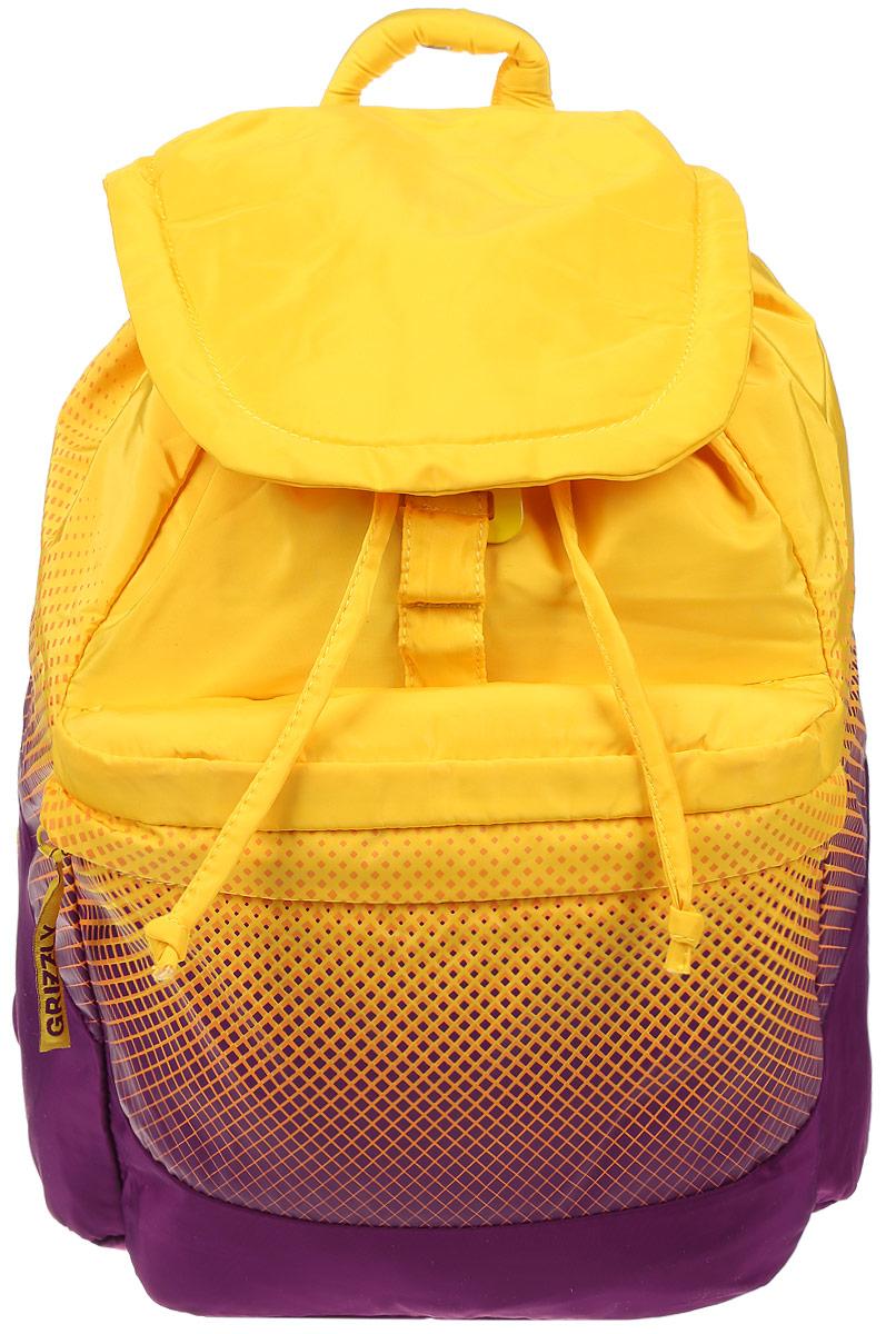 цена Рюкзак городской женский Grizzly, цвет: желтый, пурпурный, 22 л. RD-748-1/1 онлайн в 2017 году