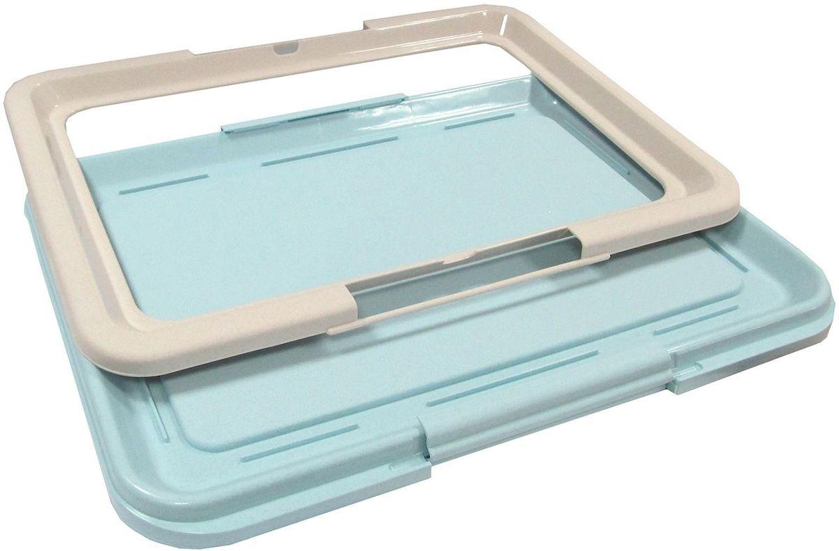 Туалет-лоток для собак OUT!, большой, с фиксатором, цвет: серо-бирюзовый, 64 х 48 х 3,5 см туалет для собак triol 48 х 42 х 4 см