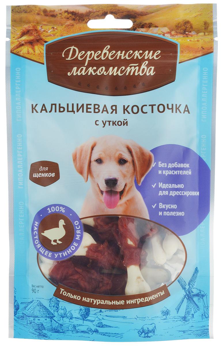 Лакомство для щенков Деревенские лакомства, кальциевая косточка с уткой, 90 г