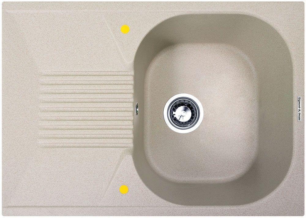 Мойка кухонная Zigmund & Shtain Klassisch 695, врезная, 1 чаша, крыло, цвет: осенняя трава кухонная мойка zigmund