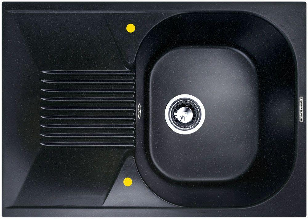Мойка кухонная Zigmund & Shtain Klassisch 695, врезная, 1 чаша, крыло, цвет: темная скала кухонная мойка zigmund