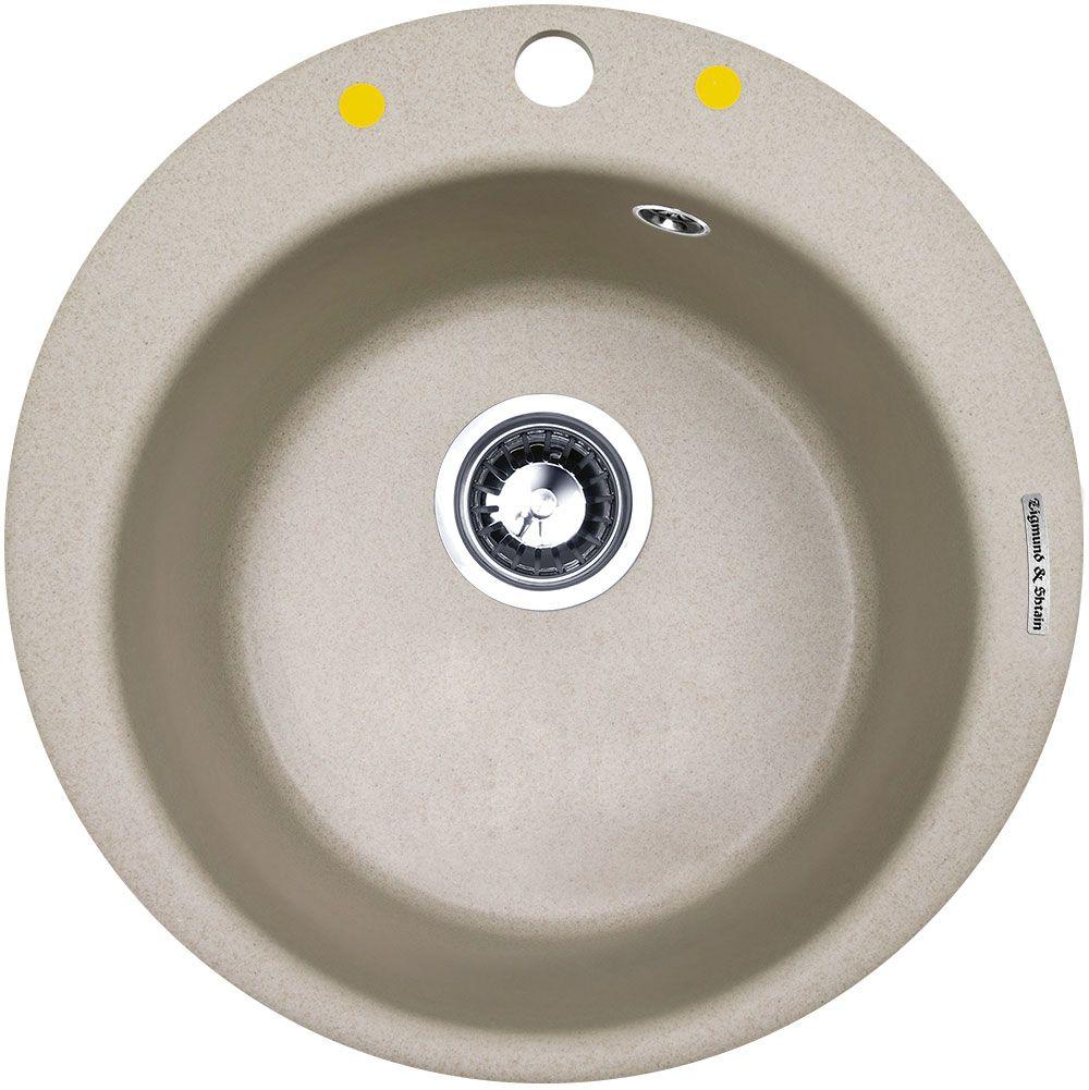 Мойка кухонная Zigmund & Shtain Kreis 480, врезная, 1 чаша, цвет: осенняя трава, диаметр 37 см, глубина 21 см кухонная мойка zigmund