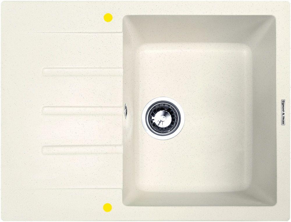 Мойка кухонная Zigmund & Shtain Rechteck 645, врезная, 1 чаша, крыло, цвет: каменная соль кухонная мойка zigmund