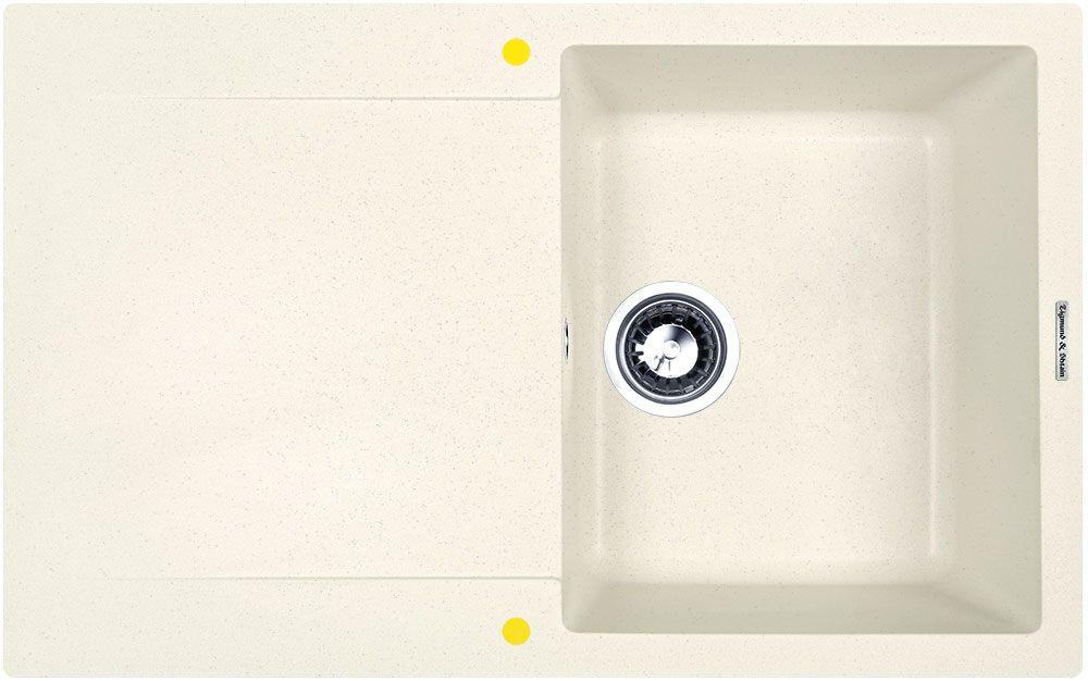 Мойка кухонная Zigmund & Shtain Rechteck 775, врезная, 1 чаша, крыло, цвет: каменная соль кухонная мойка zigmund