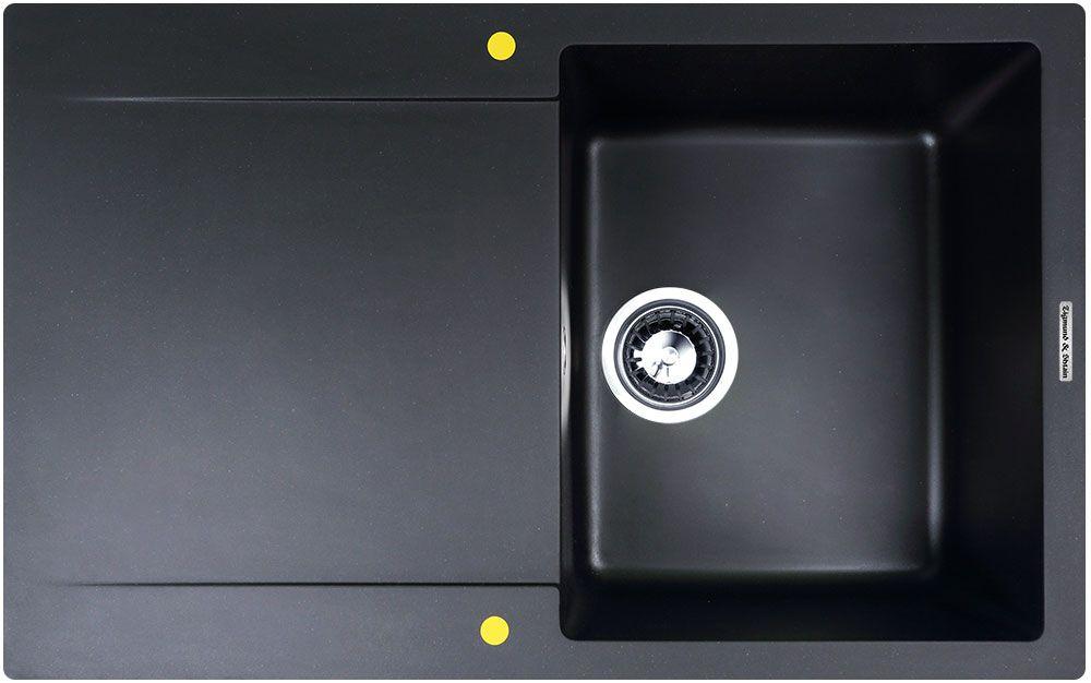 """Мойка Zigmund & Shtain """"Rechteck 775"""", врезная, с крылом, цвет: черный базальт, 34 х 42 см Уцененный товар (№1)"""