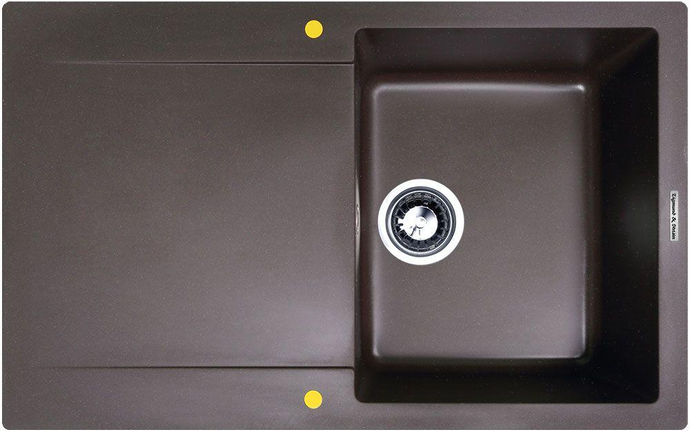 Мойка кухонная Zigmund & Shtain Rechteck 775, врезная, 1 чаша, крыло, цвет: швейцарский шоколад кухонная мойка zigmund