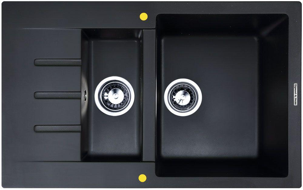 Мойка кухонная Zigmund & Shtain Rechteck 775.2, врезная, 2 чаши, крыло, цвет: черный базальт кухонная мойка zigmund