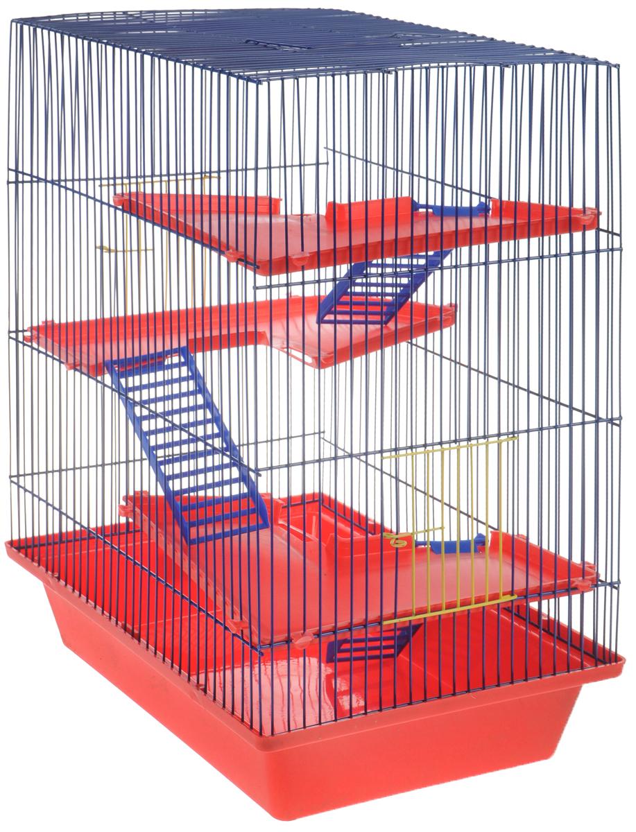 Клетка для грызунов ЗооМарк Гризли, 4-этажная, цвет: красный поддон, синяя решетка, красные этажи, 41 х 30 х 50 см клетка для грызунов зоомарк гризли 4 этажная цвет красный поддон синяя решетка красные этажи 41 х 30 х 50 см