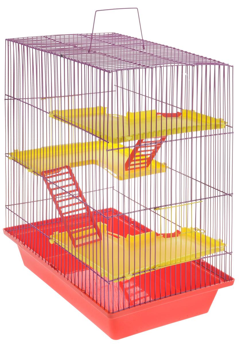 Клетка для грызунов ЗооМарк Гризли, 4-этажная, цвет: красный поддон, фиолетовая решетка, желтые этажи, 41 х 30 х 50 см клетка для грызунов зоомарк гризли 4 этажная цвет красный поддон синяя решетка красные этажи 41 х 30 х 50 см