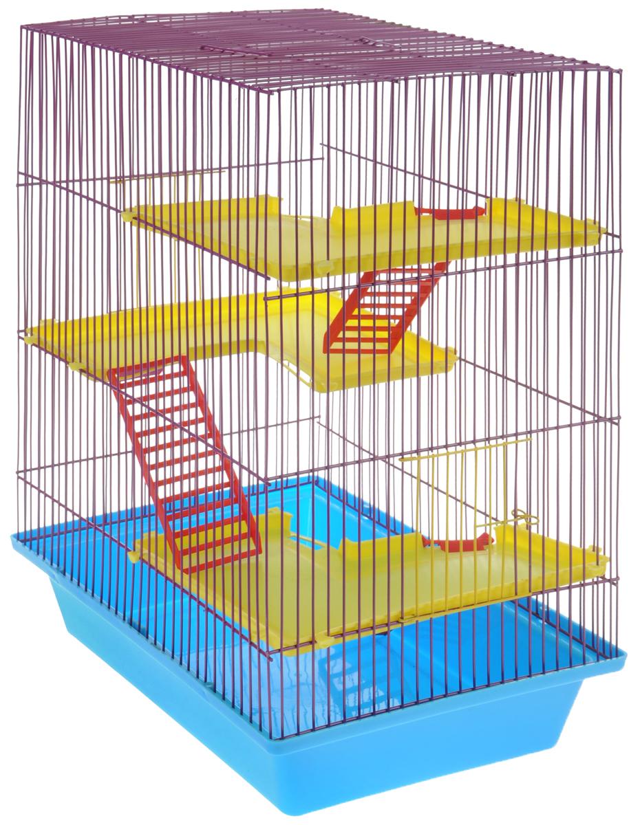 Клетка для грызунов ЗооМарк Гризли, 4-этажная, цвет: голубой поддон, фиолетовая решетка, желтые этажи, 41 х 30 х 50 см240СФКлетка ЗооМарк Гризли, выполненная из полипропилена и металла, подходит для мелких грызунов. Изделие четырехэтажное. Клетка имеет яркий поддон, удобна в использовании и легко чистится. Сверху имеется ручка для переноски. Такая клетка станет уединенным личным пространством и уютным домиком для маленького грызуна.