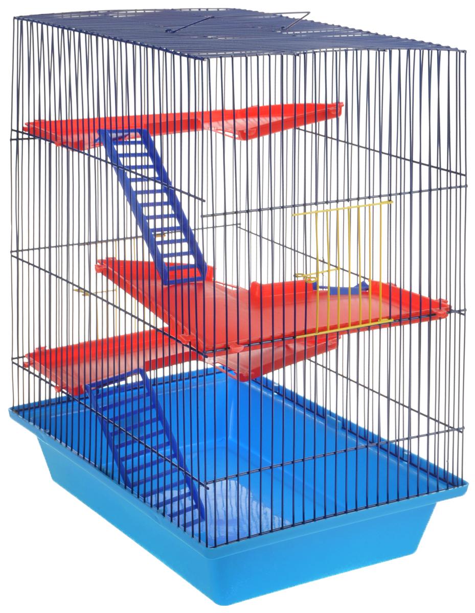 Клетка для грызунов ЗооМарк Гризли, 4-этажная, цвет: голубой поддон, синяя решетка, красные этажи, 41 х 30 х 50 см клетка для грызунов зоомарк гризли 4 этажная цвет красный поддон синяя решетка красные этажи 41 х 30 х 50 см