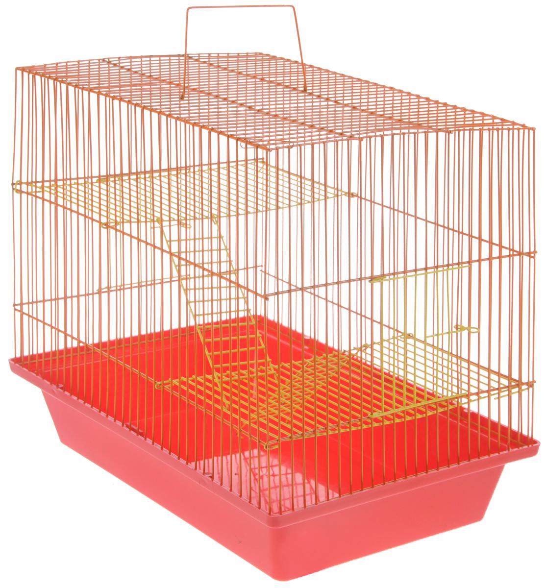 Клетка для грызунов ЗооМарк Гризли, 3-этажная, цвет: красный поддон, оранжевый решетка, желтые этажи, 41 х 30 х 36 см. 230ж клетка для грызунов зоомарк гризли 4 этажная цвет красный поддон синяя решетка красные этажи 41 х 30 х 50 см
