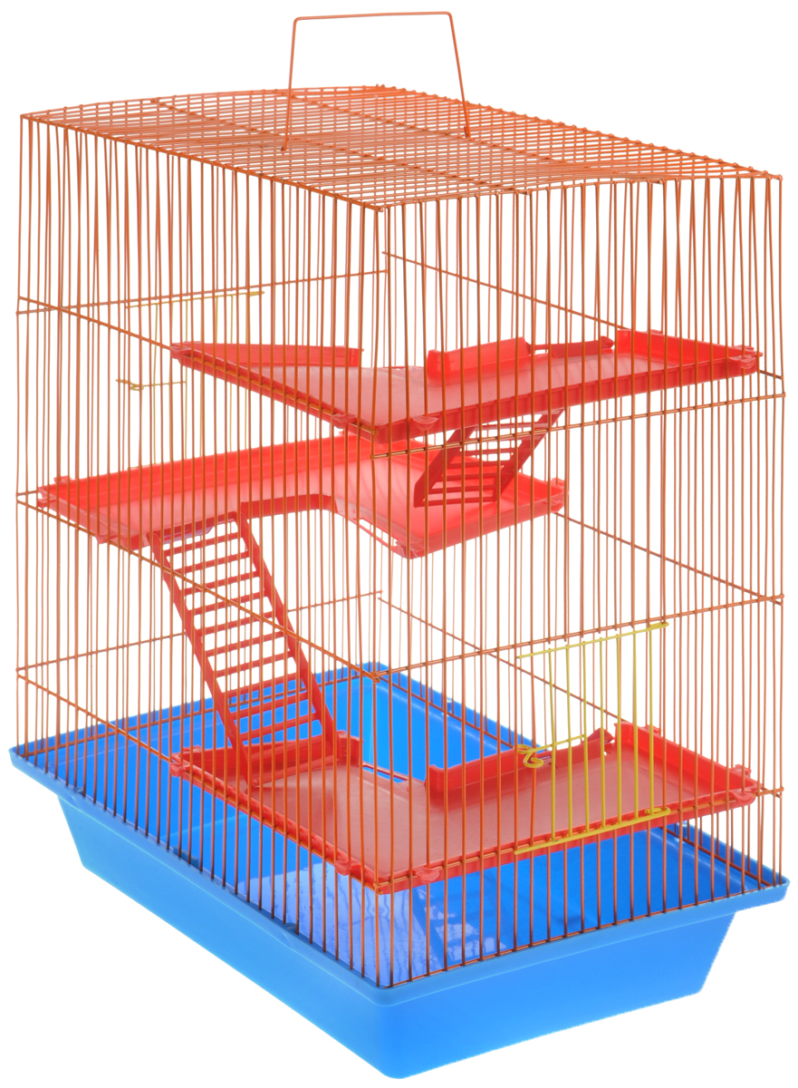 Клетка для грызунов ЗооМарк Гризли, 4-этажная, цвет: голубой поддон, оранжевая решетка, красные этажи, 41 х 30 х 50 см клетка для грызунов зоомарк гризли 4 этажная цвет красный поддон синяя решетка красные этажи 41 х 30 х 50 см