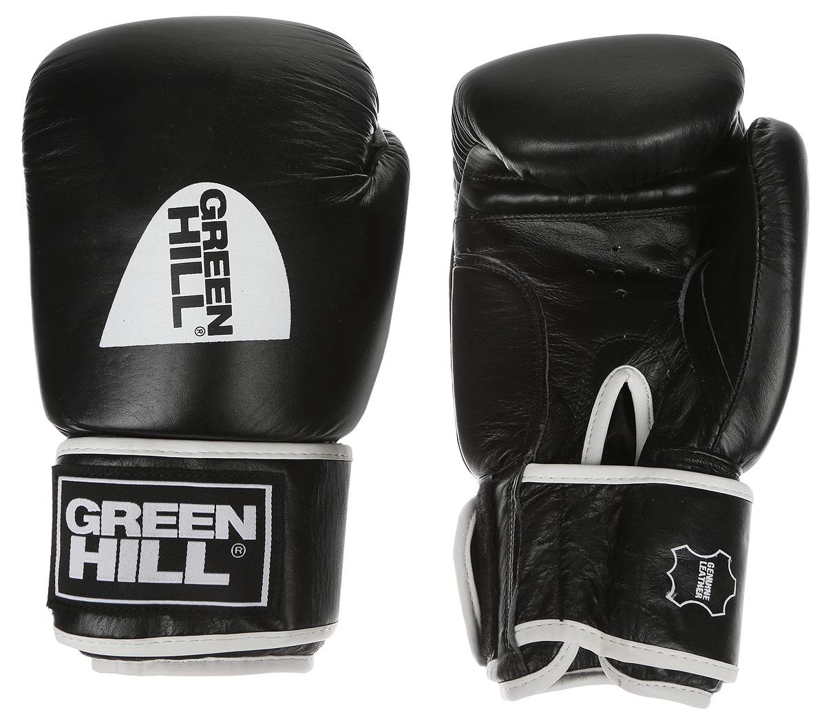 Перчатки боксерские Green Hill Gym, цвет: черный, белый. Вес 12 унций перчатки боксерские green hill force цвет красный белый вес 10 унций bgf 1215
